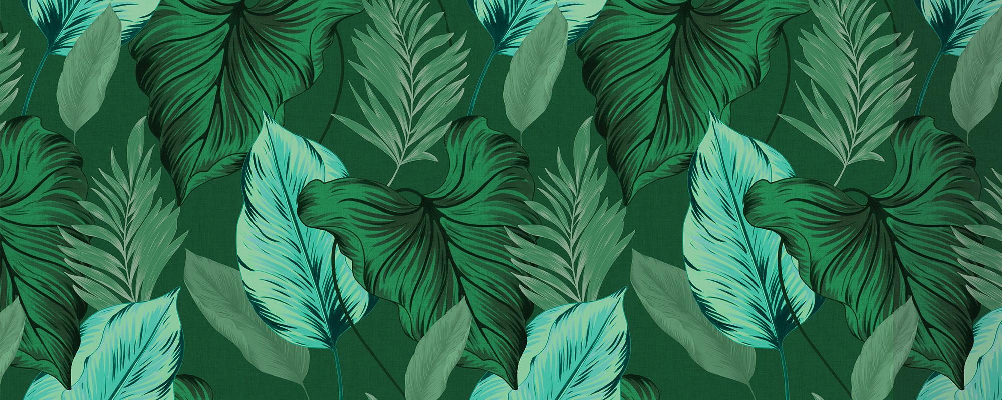 Papier peint feuillage tropical vert
