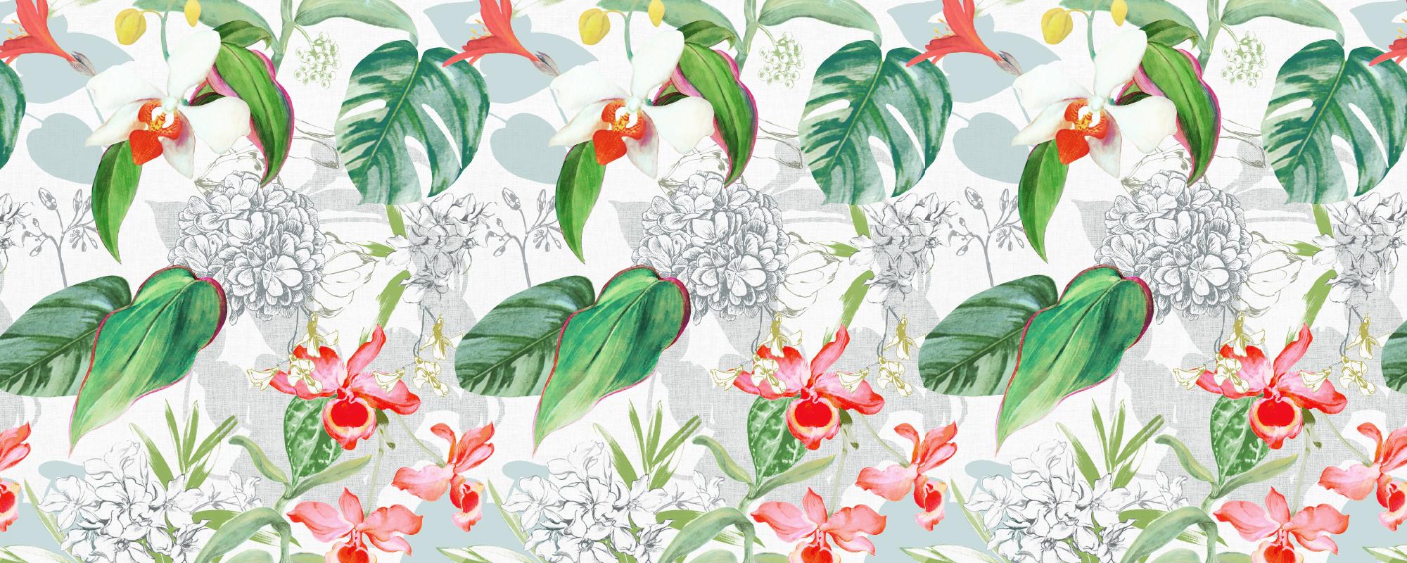 Papier peint motifs floraux et tropicaux