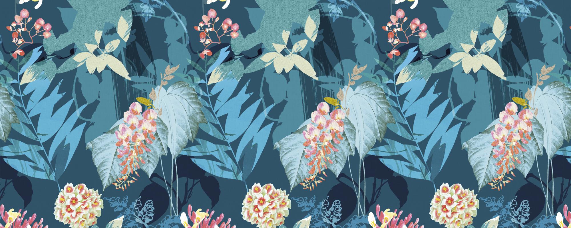Papier peint motif fleurs bleu et rose