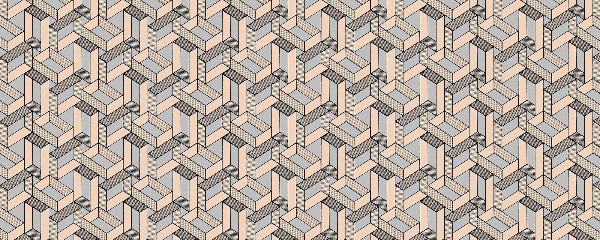Papier peint original motif graphique inspiration Escher