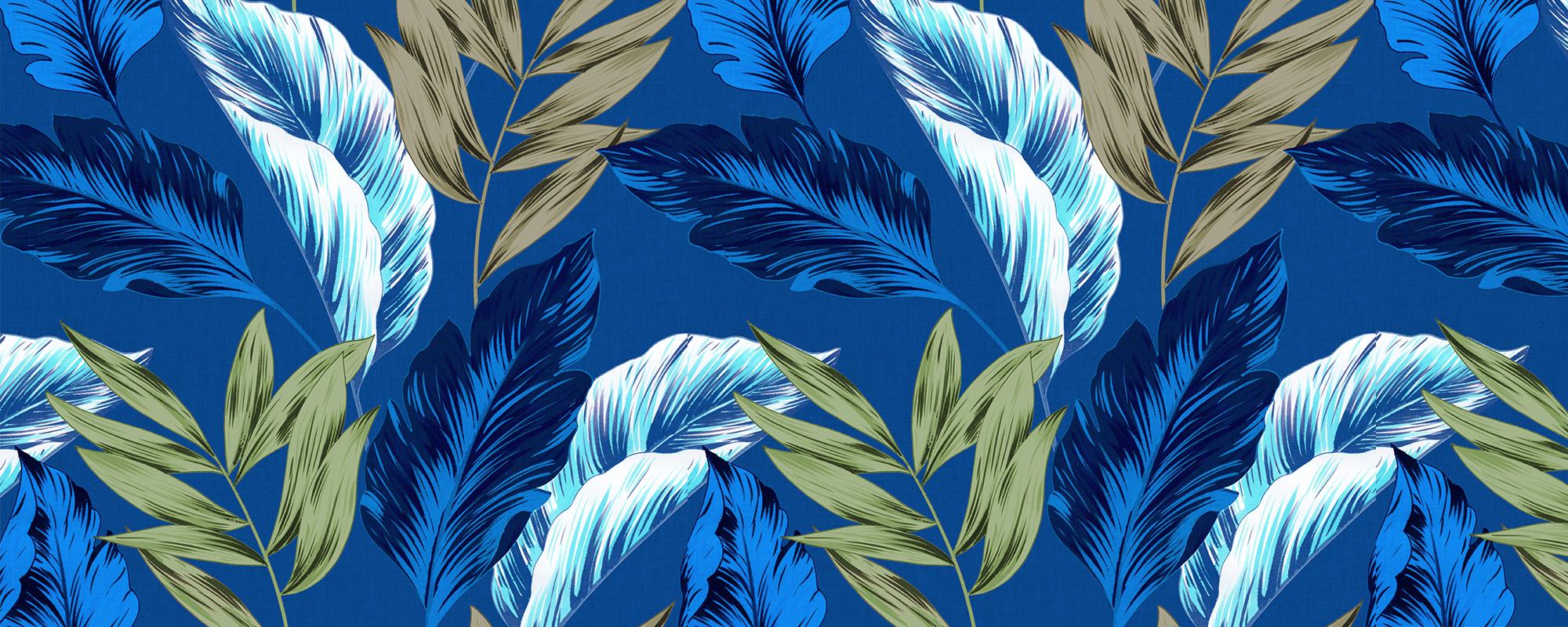 Papier peint feuilles fleur bleues