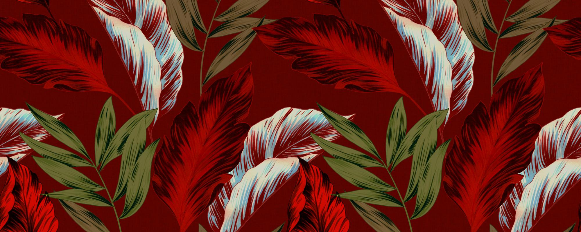Papier peint feuilles exotiques rouge