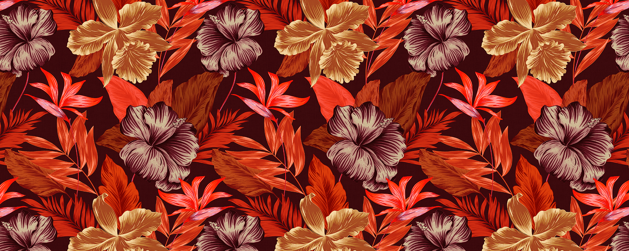 Papier peint tropical rouge inspiration Tiki