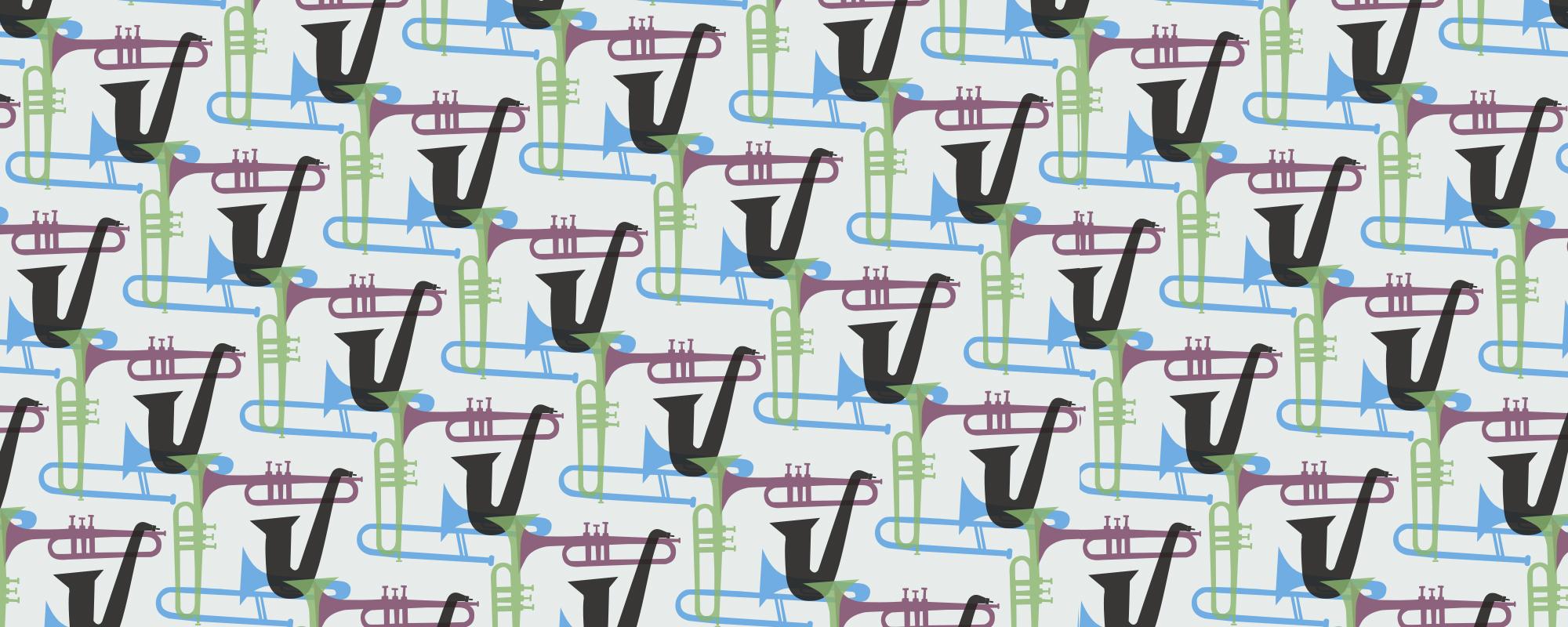 Papier peint motif graphique musical Chet