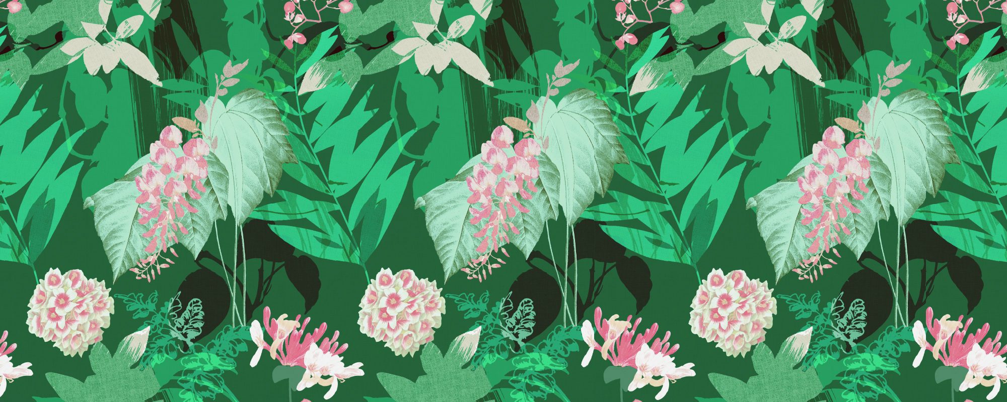 Papier peint motif fleurs vert et rose