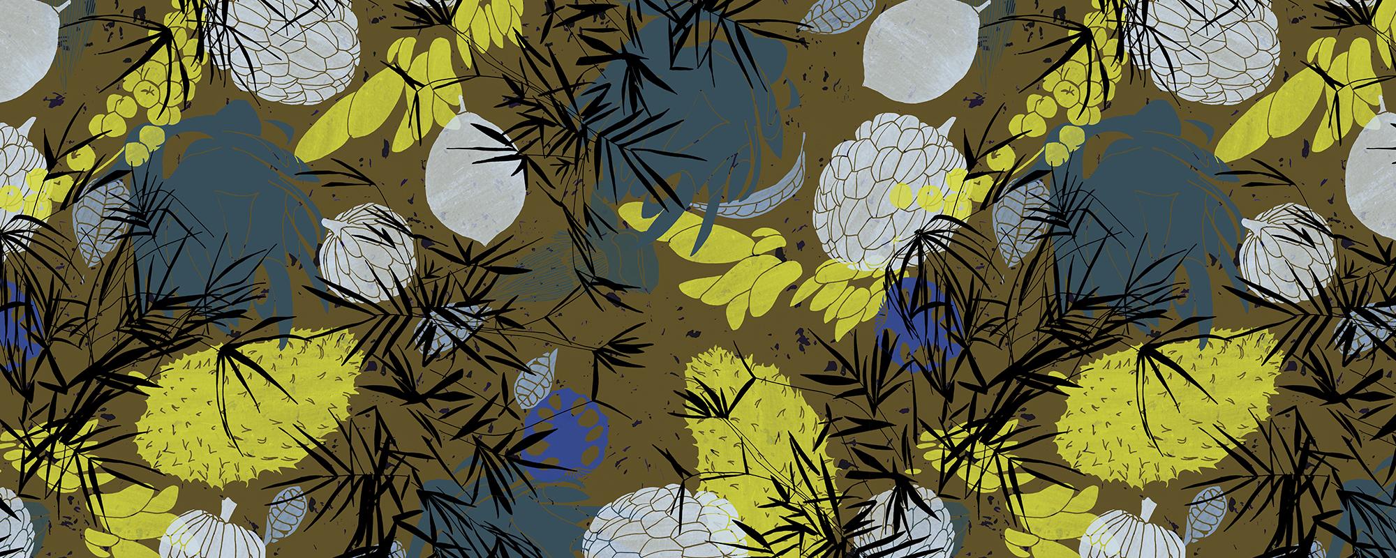 Papier peint original marron et jaune, motifs végétaux