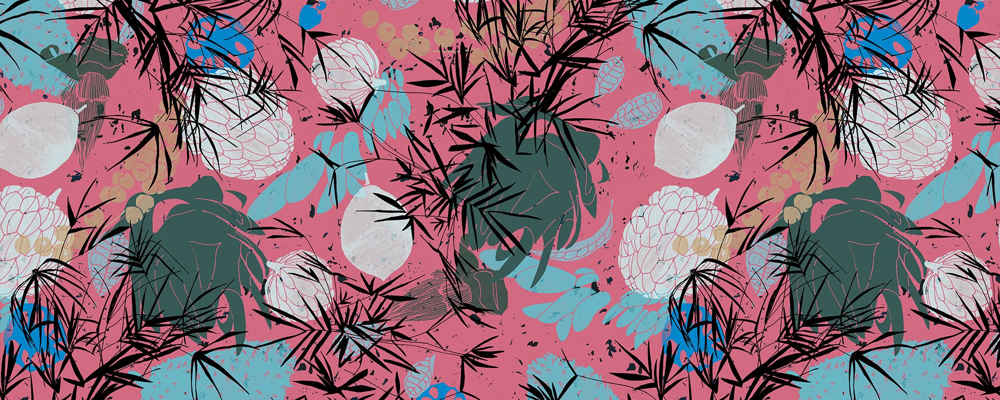 Papier peint rose et bleu tropical