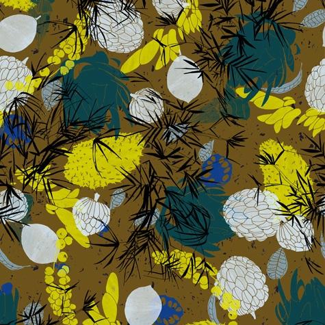sugarapple citron motif floral attier papier peint le presse papier. Black Bedroom Furniture Sets. Home Design Ideas