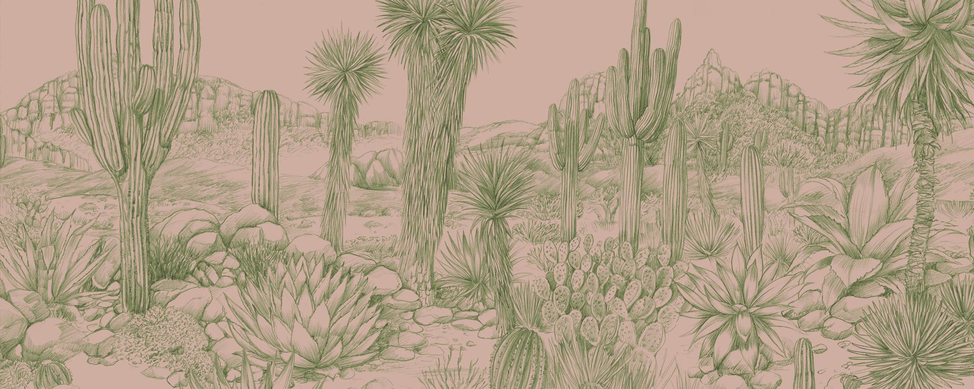 Papier peint dessiné à la main El Paso
