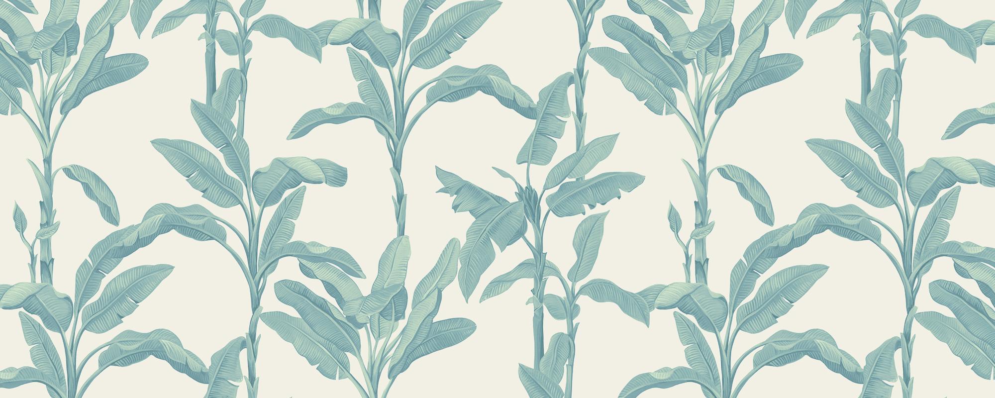 Papier peint feuilles de bananier bleu