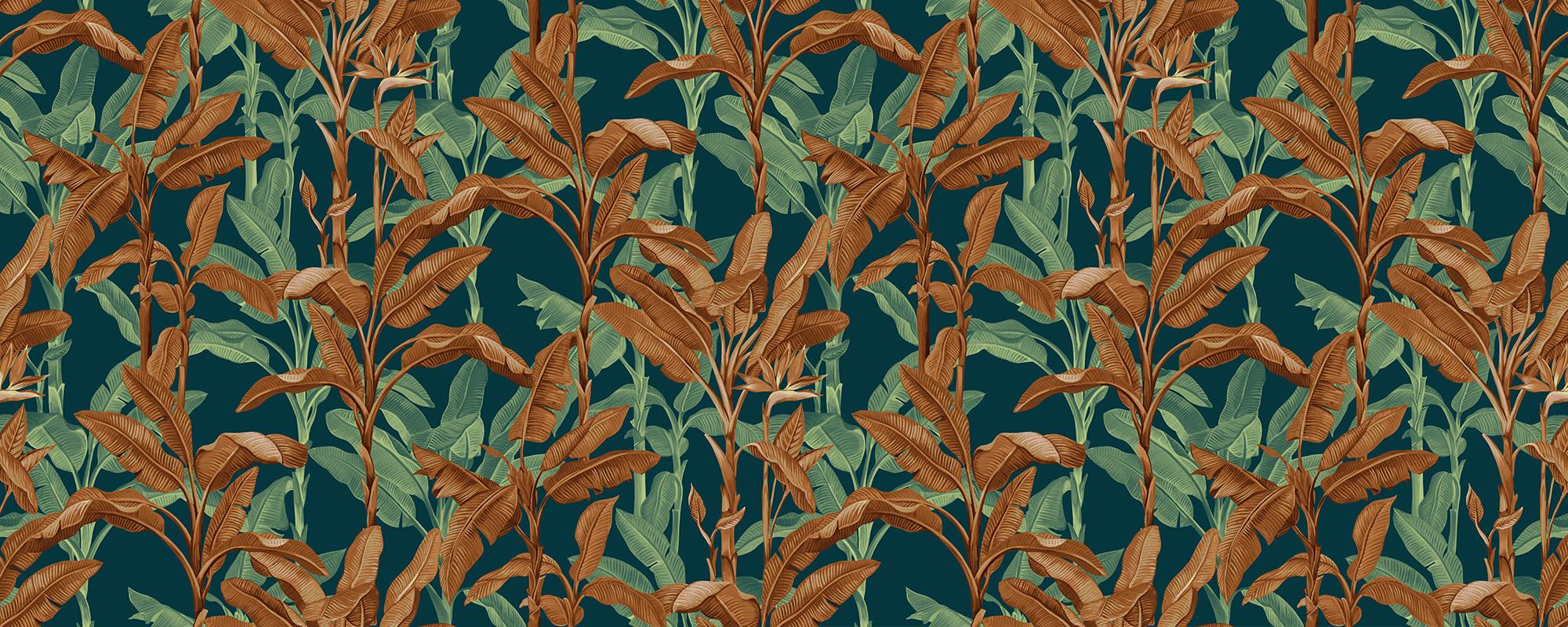 Papier peint feuilles de palmier ambre et vert
