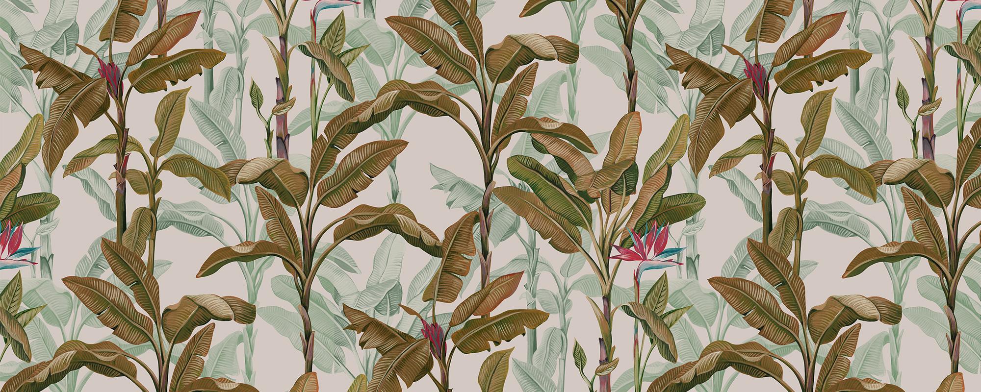 Papier peint feuilles de palmier fond clair