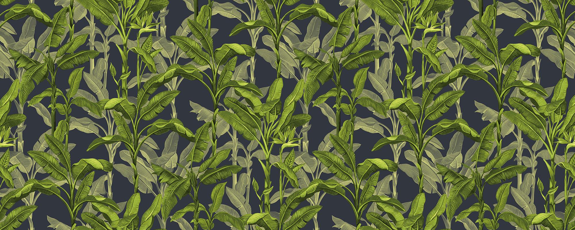 Papier peint feuilles de palmier vertes