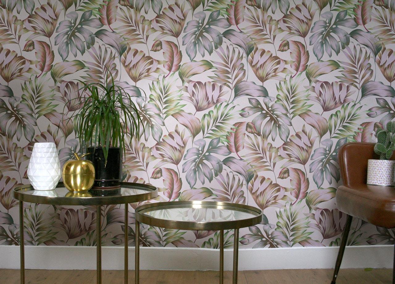 tiki wall rose poudr e gouache florale papier peint le presse papier. Black Bedroom Furniture Sets. Home Design Ideas