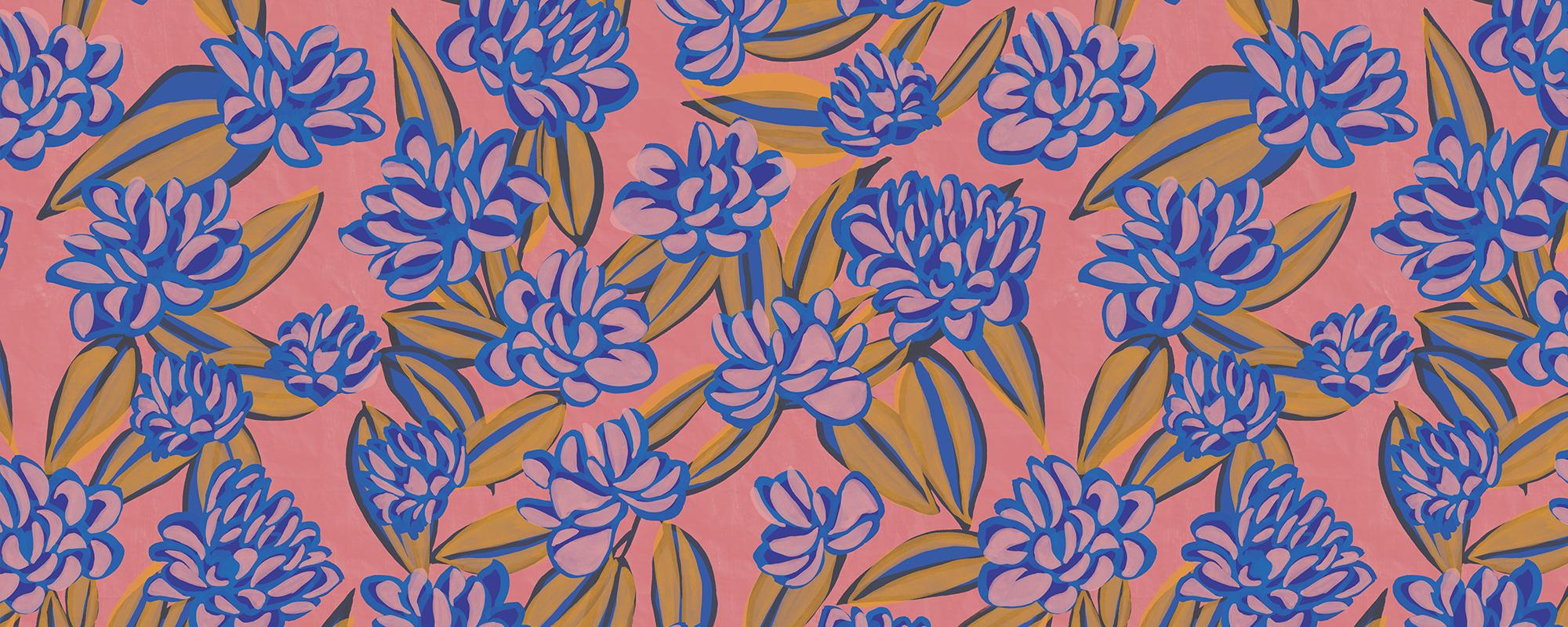 Papier peint moif fleurs fuschia