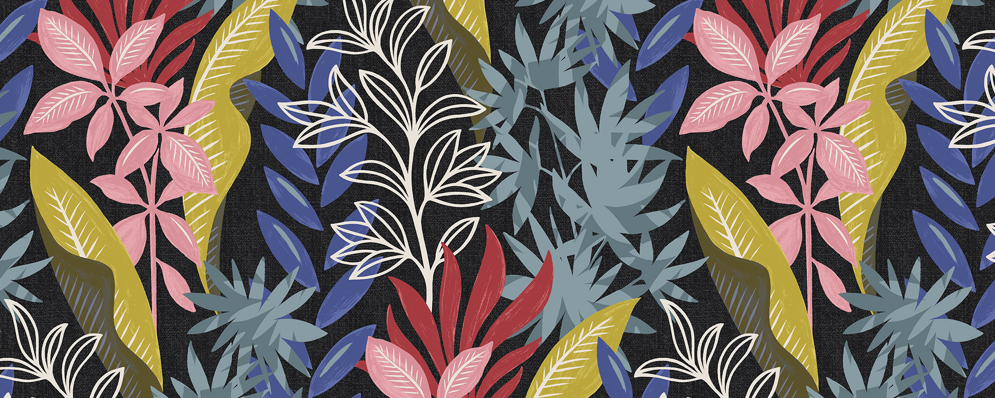 Papier peint original et coloré motifs plantes aquatiques