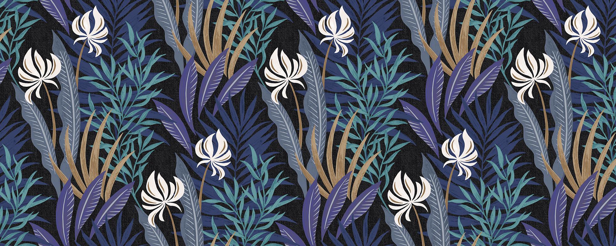 Papier peint design bleu plantes sous-marines