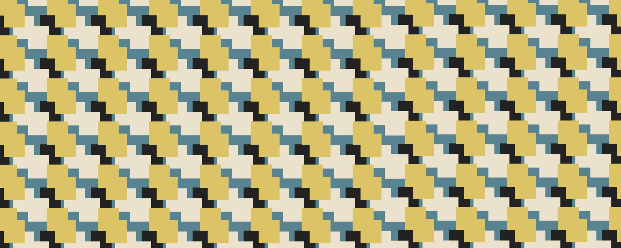 Papier peint design motif géométrique jaune et bleu