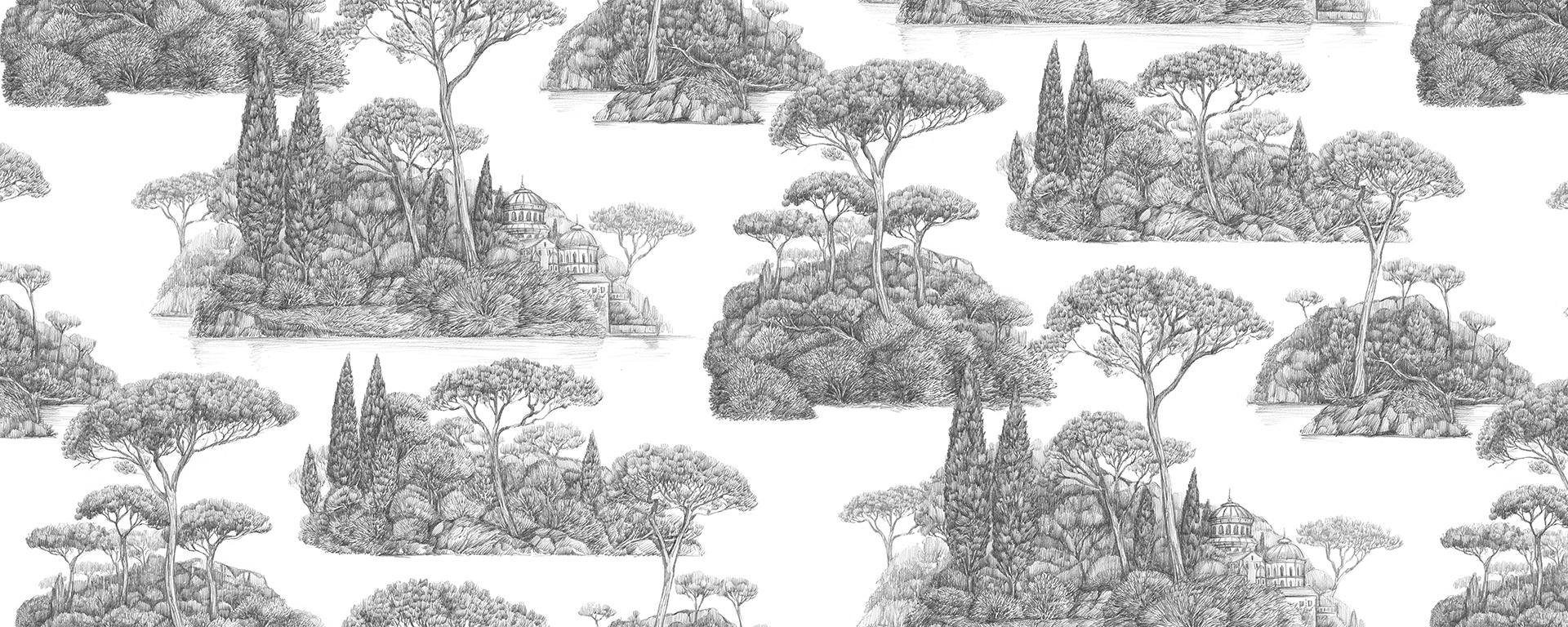 Papier peint Bel Archipel Origine par Le Presse Papier, inspiré des toiles de Jouy et fabriqué en France