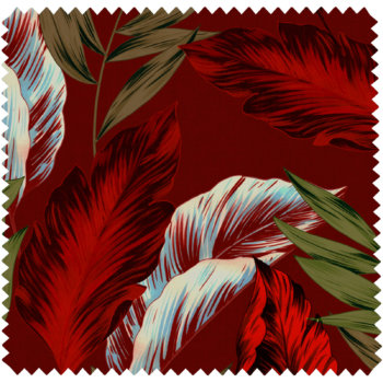 textile d'ameublement tropical rouge