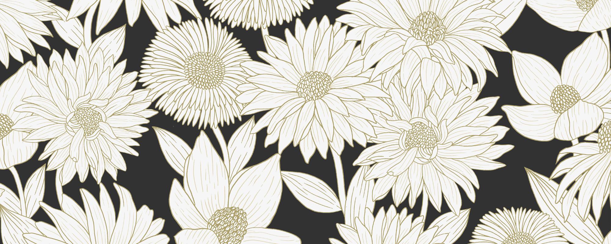 Papier Peint Noir Et Blanc Graphique hanami - papier peint - le presse papier